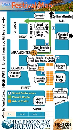 Pumpkin Festival mobile app map to help you find what you're looking for