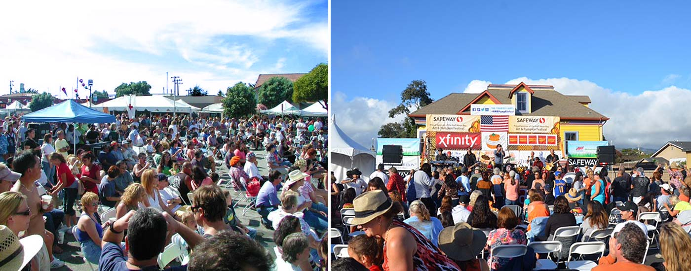 live music on stage and street in Half Moon Bay draws huge crowds